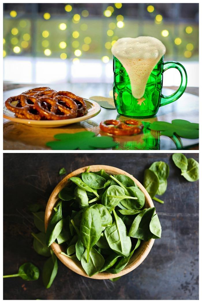 Food days in March - St. Patrick's Day and spinach day.