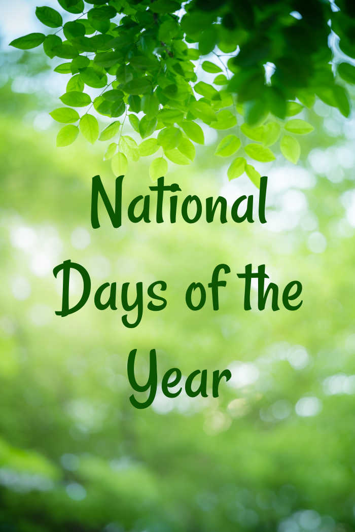 Tree and green bokeh background with words National Days of the Year/