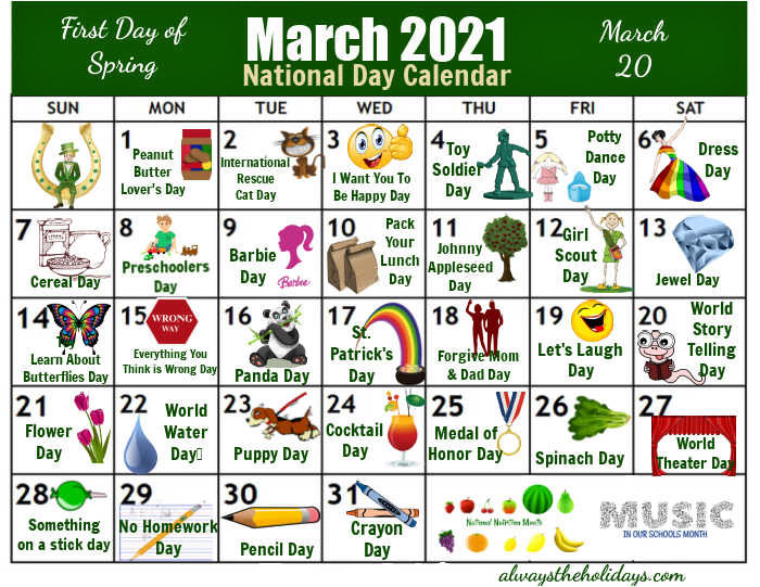 Calendar of National Days in March 2021
