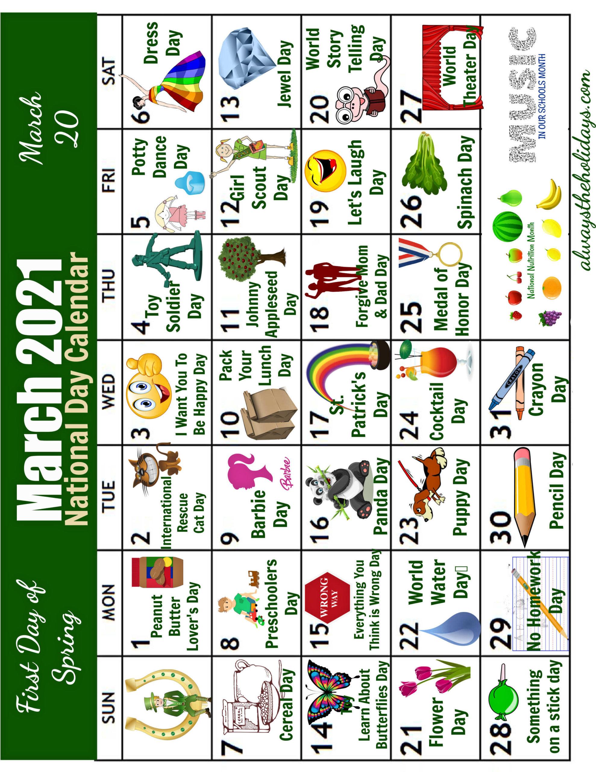 March National Days calendar flipped