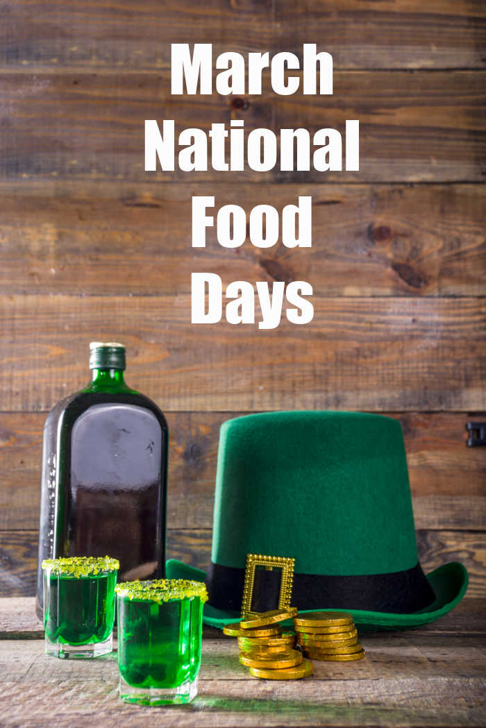 Green top hat, gold coins, green drinks, whiskey and words March National Food Days.