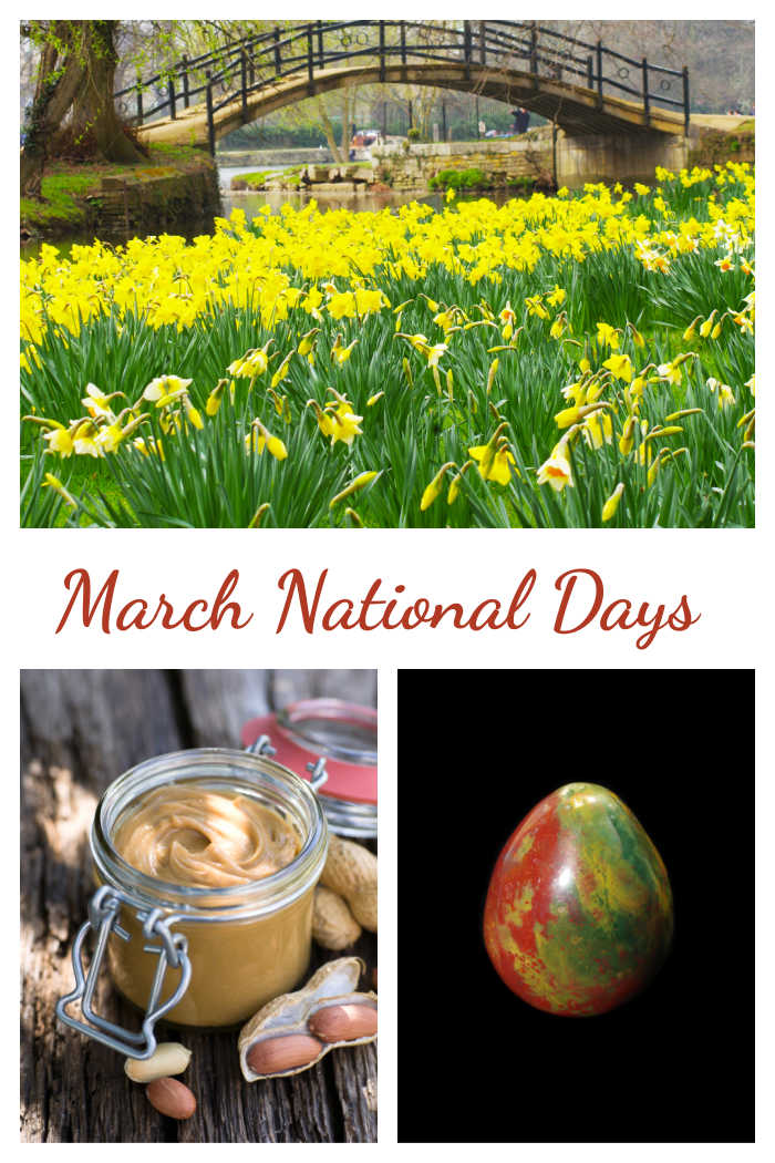 Daffodils, peanut butter and bloodstone in a collage with words March National Days.