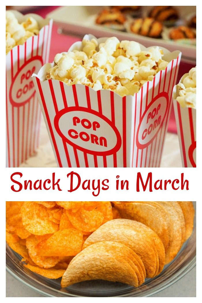 Popcorn day and potato chip day happen in March
