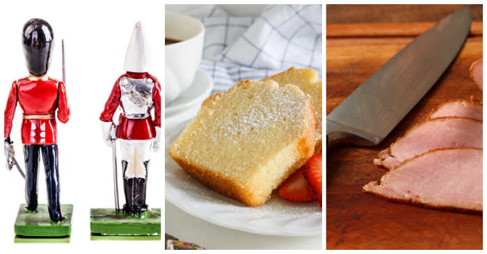 Toy soldiers, pound cake and Canadian bacon in a collage.