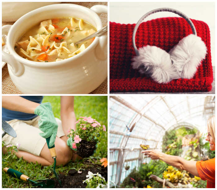 Bowl of chicken noodle soup, ear muffs, planting a flowers and lady in butterfly house.