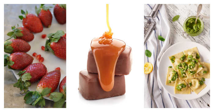 March national days include California strawberries, caramel chocolate and plate of ravioli, all featured in a collage;