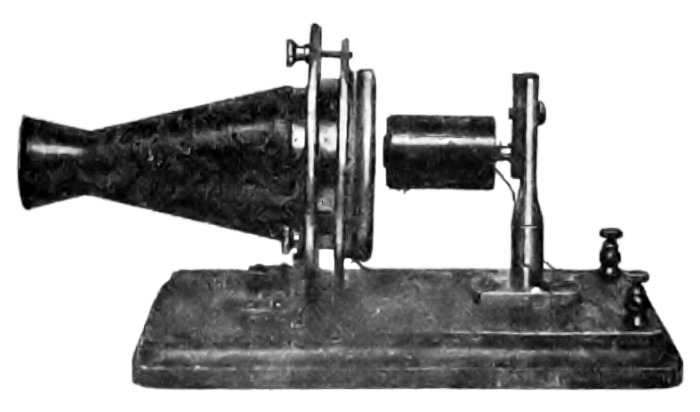 Single pole telephone transmitter of 1876