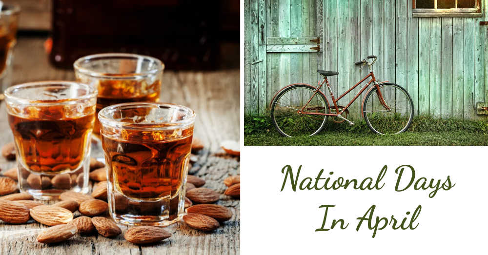 Amaretto, almonds and old bicycle with words reading National Days in April.