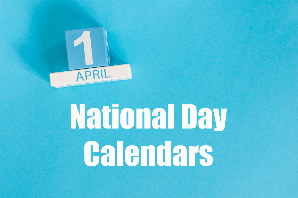 Blue background and block calendar with words reading National Day Calendars.