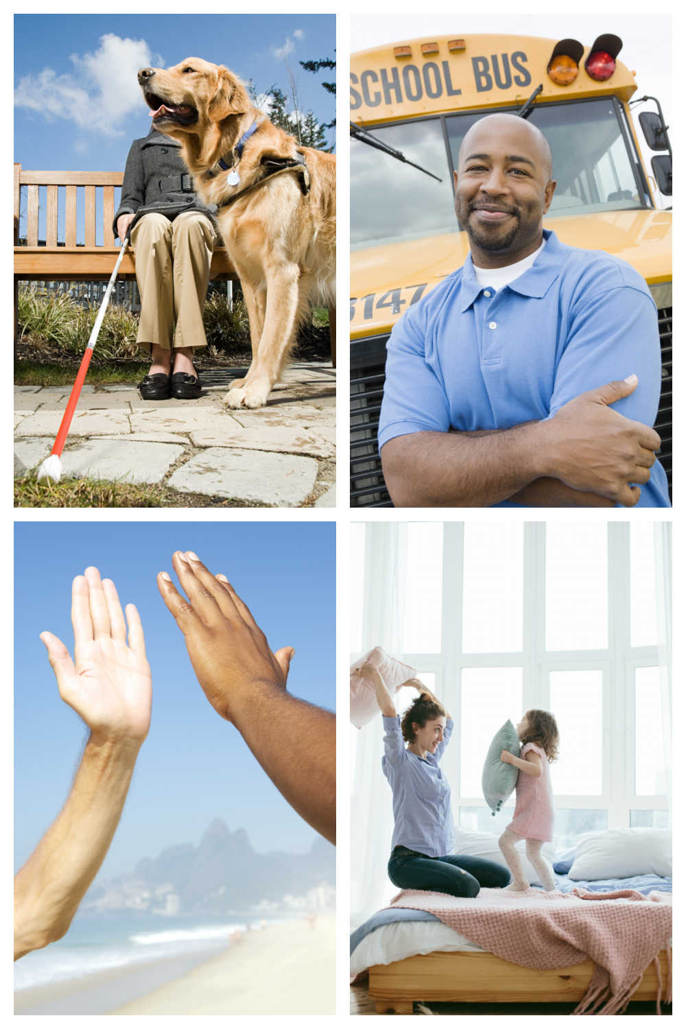 High five, pillow fight, school bus driver, and guide dog photos in a collage.