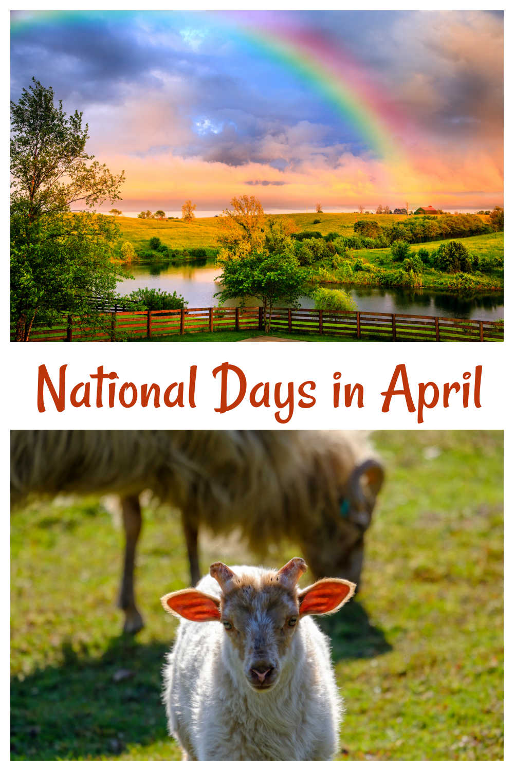 Rainbow and farm animals with words National Days in April