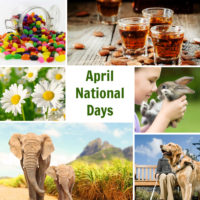 Collage with photos of jelly beans, beer, daisies, pet, elephants, and guide dog with text reading April National Days.