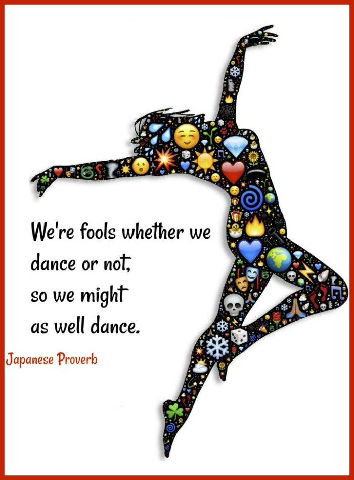 A dancing silhouette with emojis inside it and a dancing quotes text overlay.