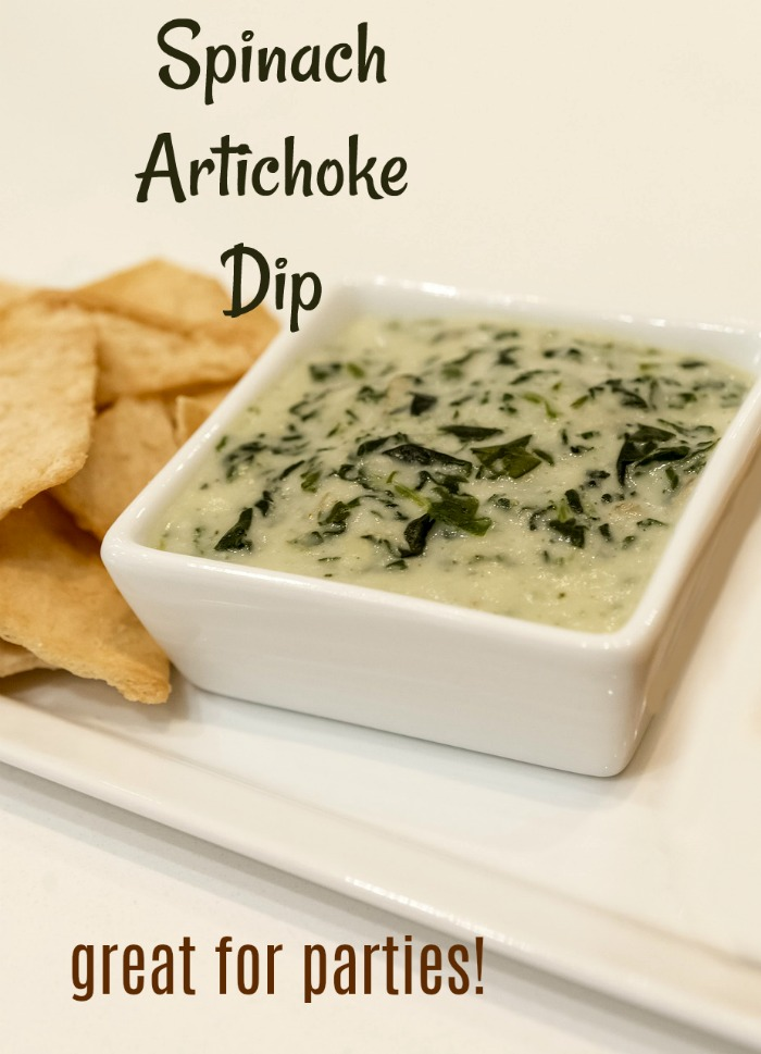 Serve this hot and bubbling spinach and artichoke dip to get your next party started off on the right foot. It is easy to make and so, so tasty. #artichokerecipes #artichokedip #partyfood #appetizers #diprecipes #artichokespinachdip #entertaining