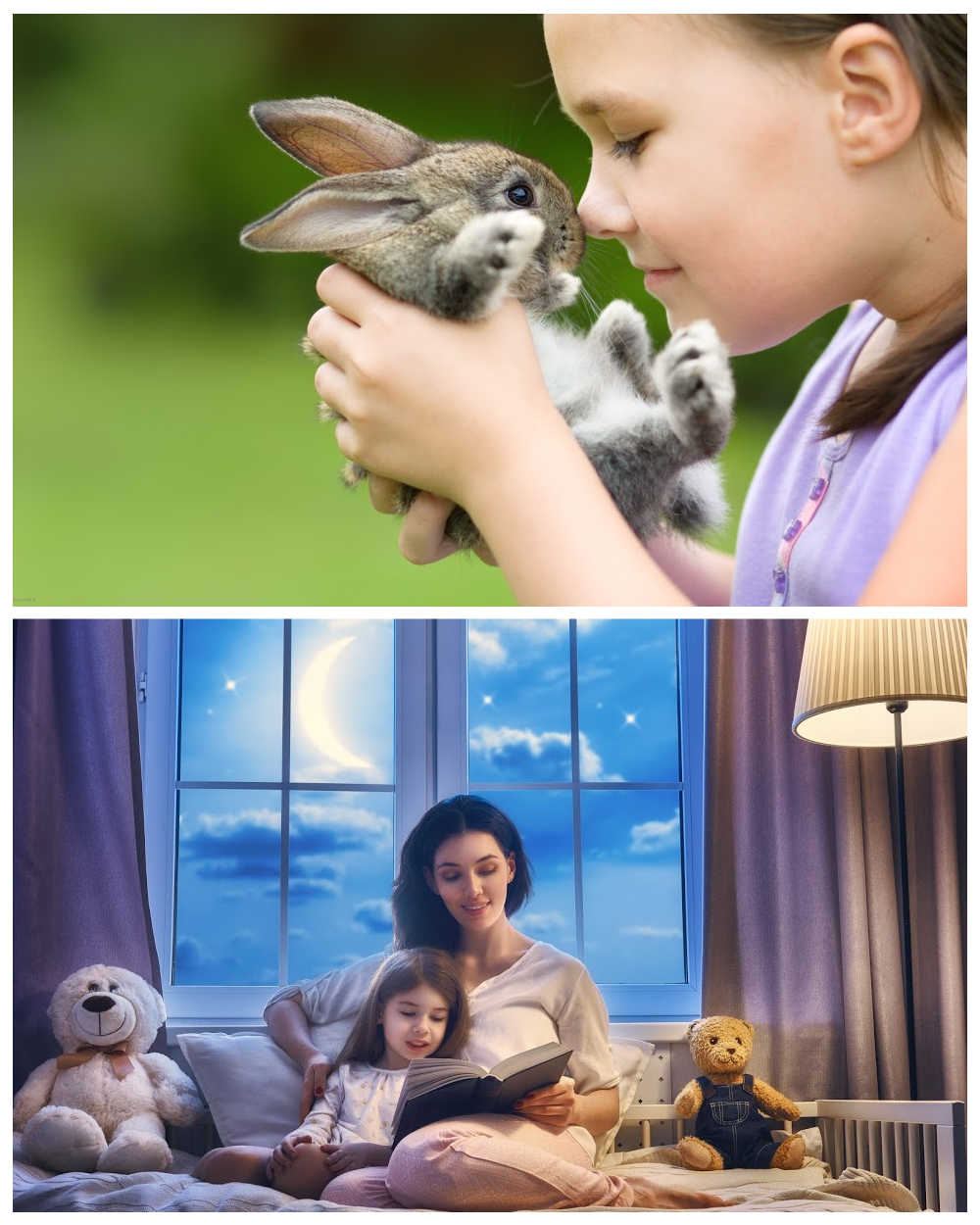 Girl with rabbit and mother reading a story to a child.