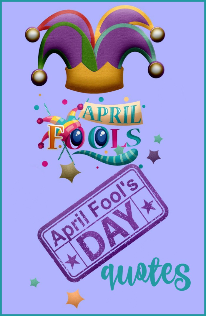A graphic advertising April Fool's Day Quotes on a purple background with stars and a jester's hat on it.