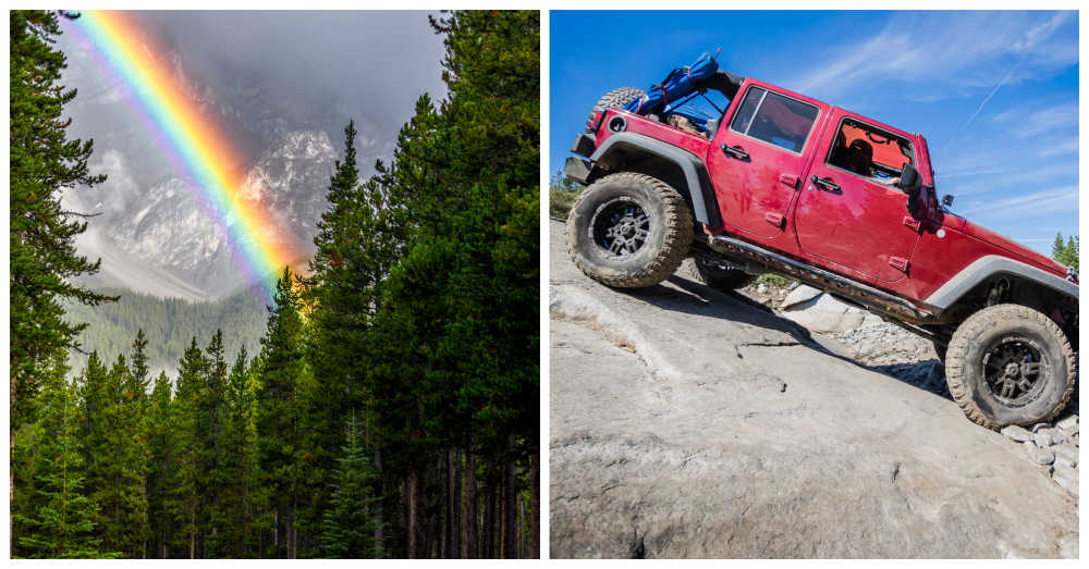 Rainbow in a forest and jeep on a ahill.