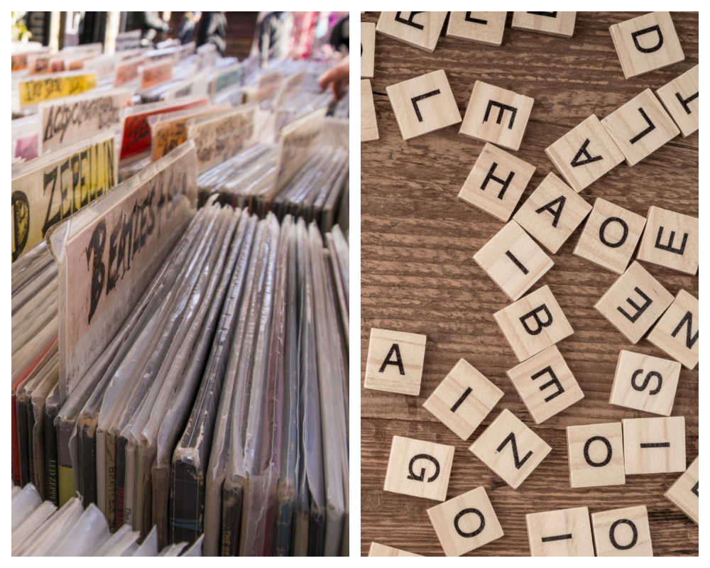 Record store jackets and scrabble tiles.