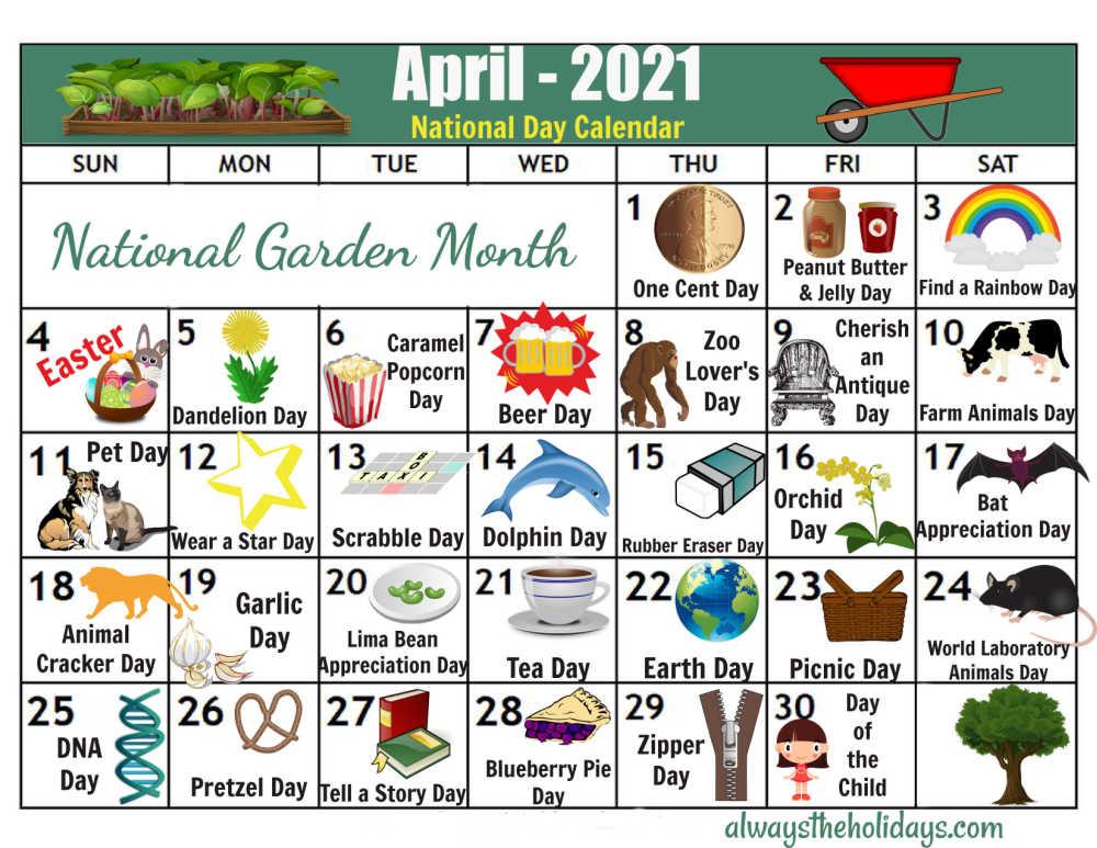 Calendar of National Days for April 2021