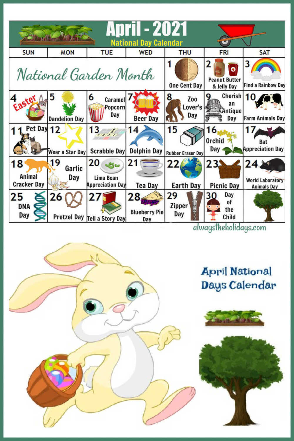 Easter Bunny, garden and tree with Calendar of National Days of April 2021