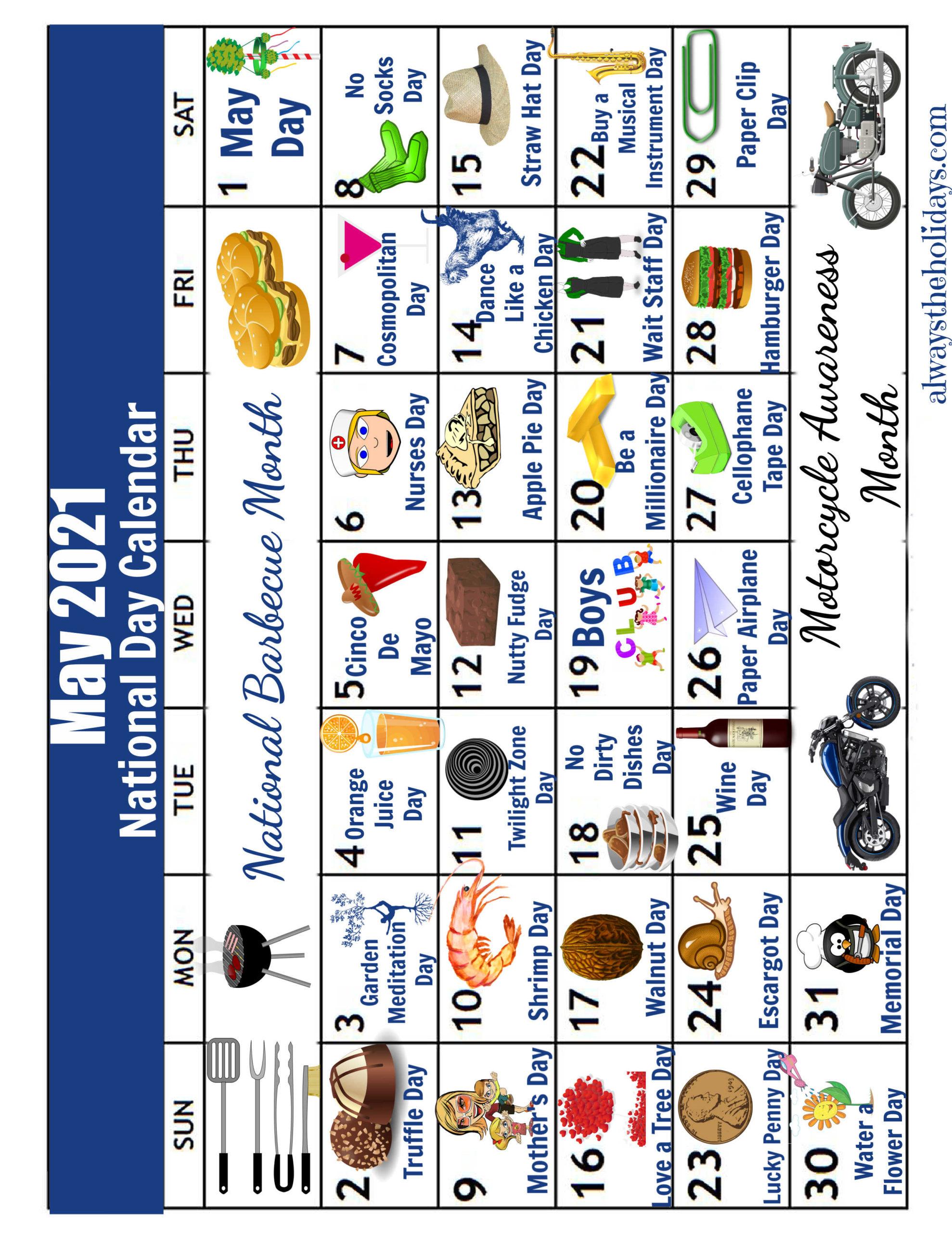 National day calendar for ay 2021 - flipped sideways.