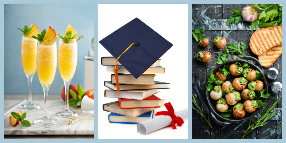 Mimosas, graduation tassel and books, and escargot in a collage with a pale blue background.