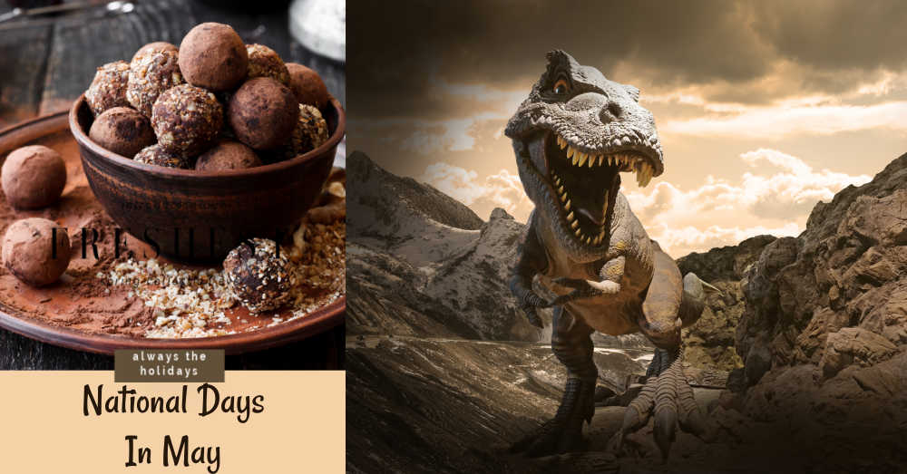 Plate of trufffles and T Rex dinosaur with text reading: National Days in May