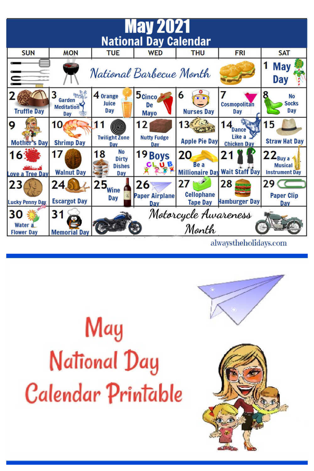 Calendar of National Days In May 2021 with mother, kids and paper airplane.