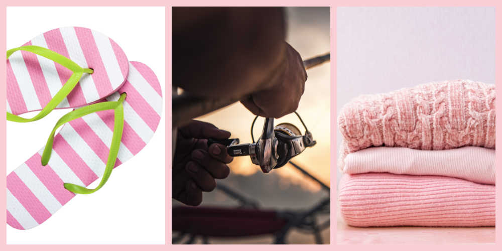 Pink striped thongs, fishing scene and pink clothing in a collage.