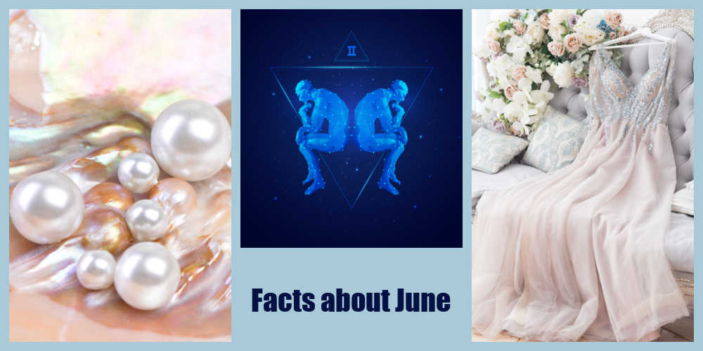 Pearls in a shell, bridal gown on a sofa and image of Gemini twins with words reading Facts about June..