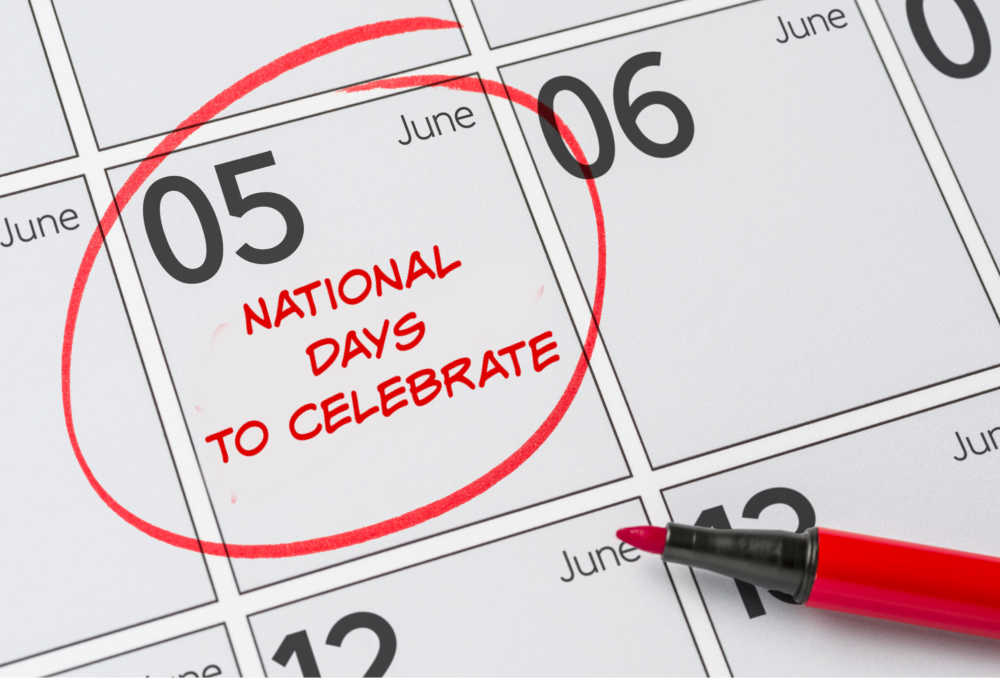 Calendar for June with the 5th circled and words National days to celebrate.