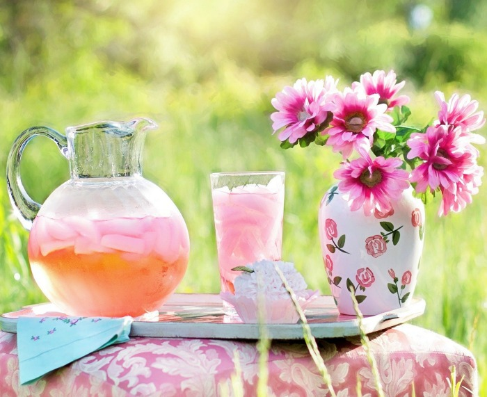 Flowers and pink lemonade