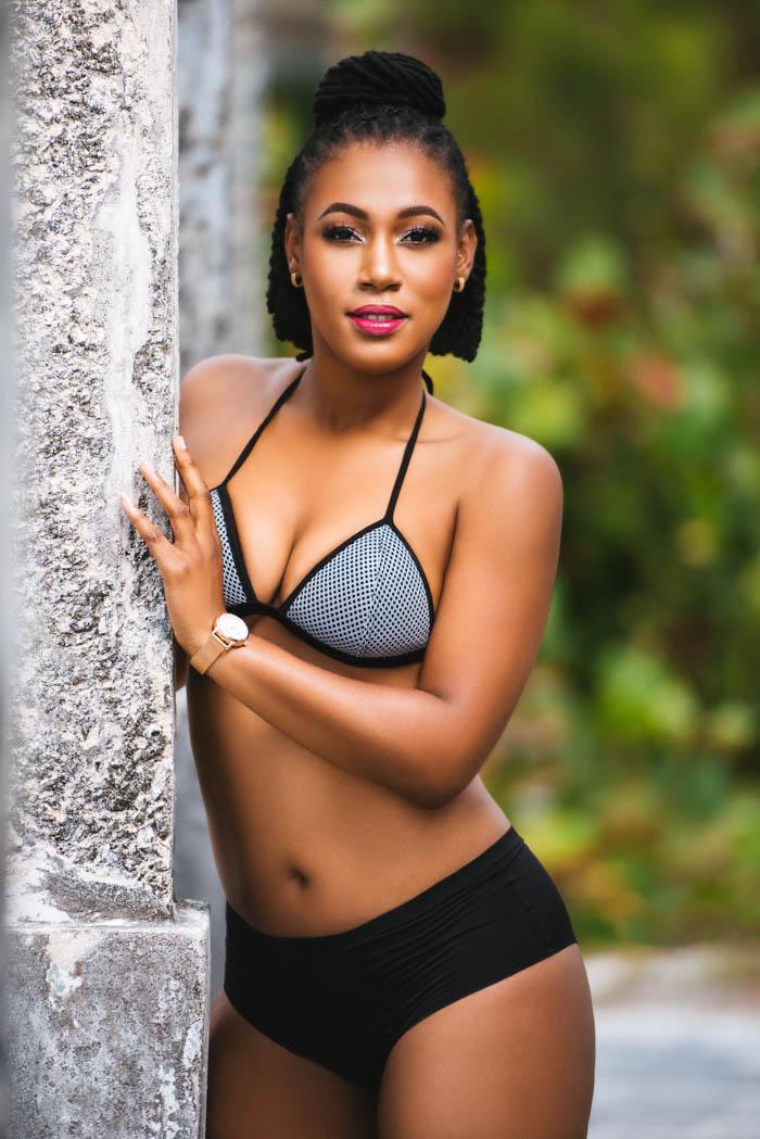 bikini model wearing a two-piece swimsuit