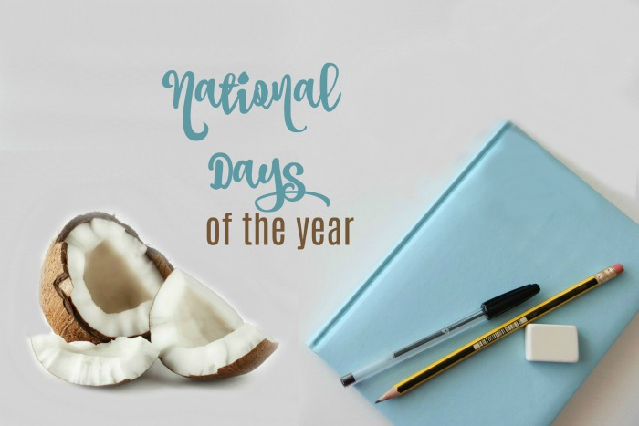 "Coconut and notebook with the words ""national days of the year."""