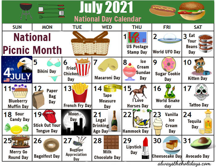 Printable calendar of National Days in July 2021.