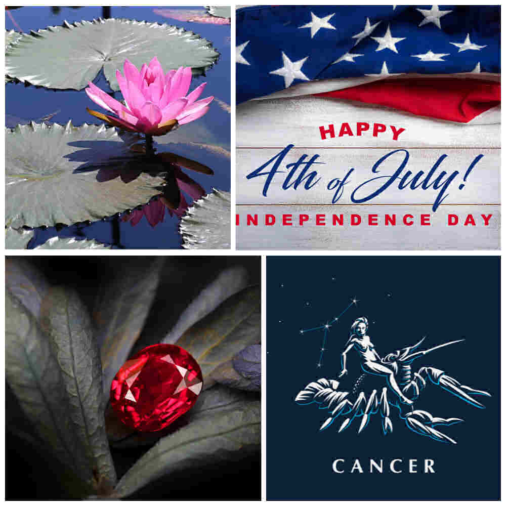 July days: Waterlily, 4th of July, ruby and cancer in a collage.