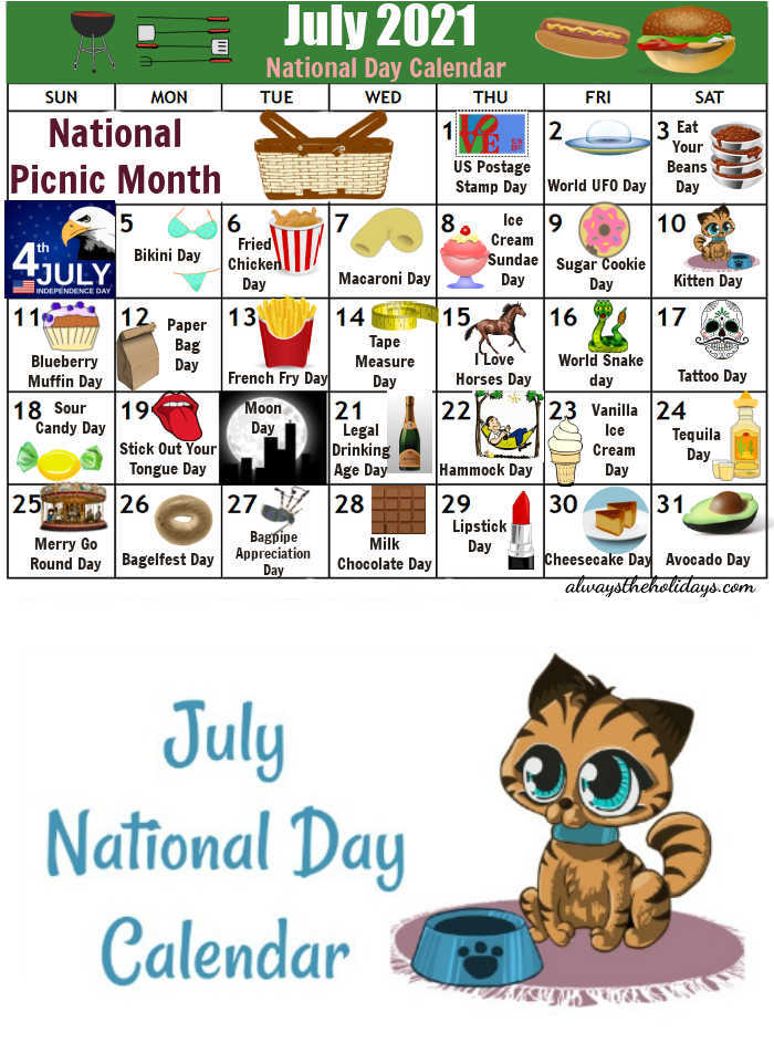 Calendar with icons and a cat with Text reading July National Day Calendar.