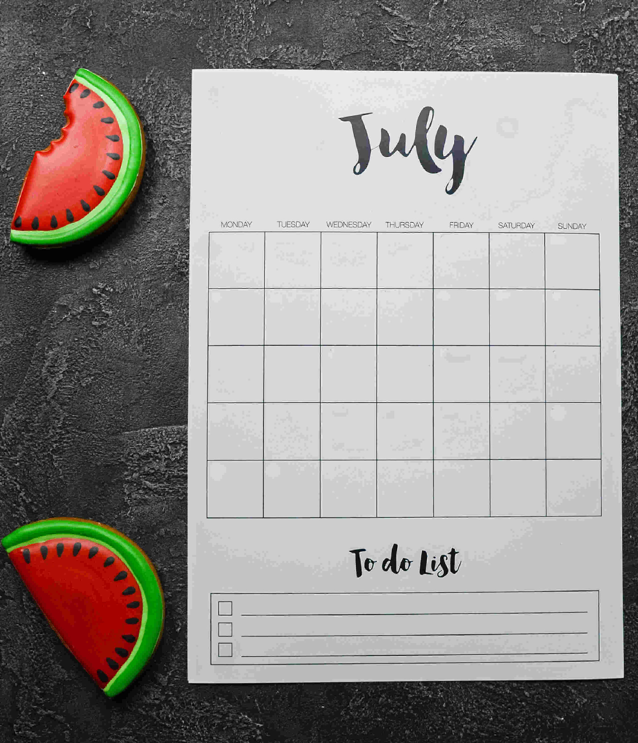 Watermelon slices and a July to do list page