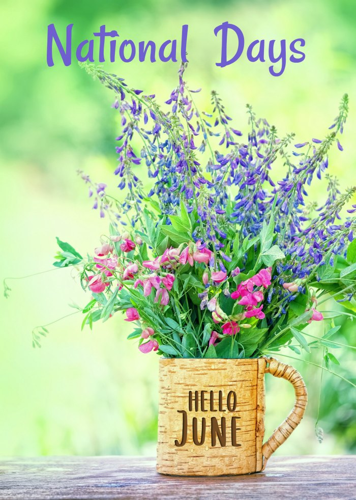 "Mug of flowers with words Hello June and text reading ""National Days."""