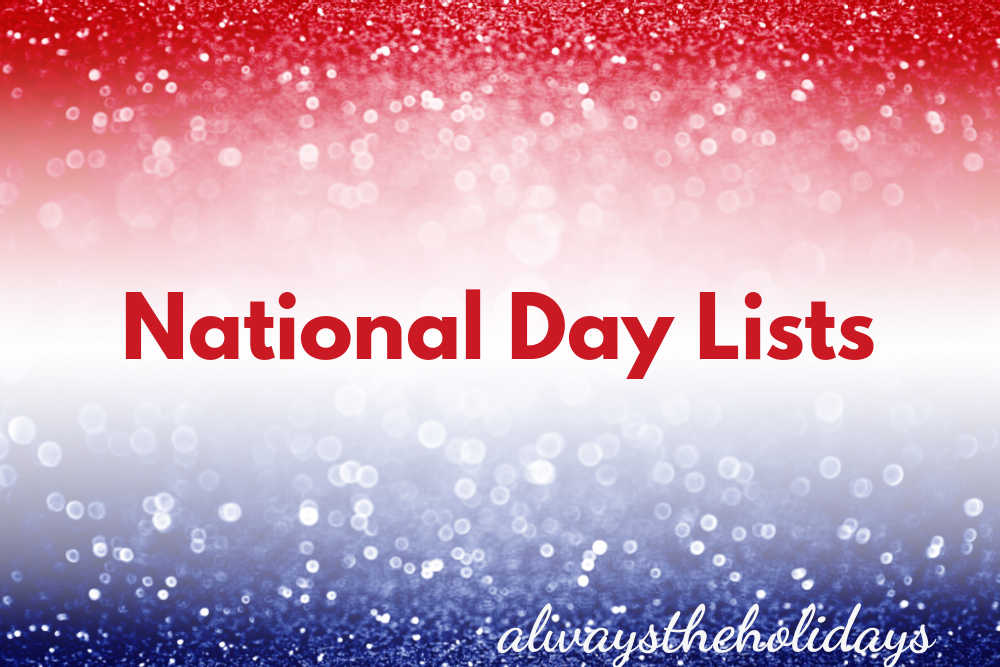 Red white and blue bokeh background with words National Day Lists.