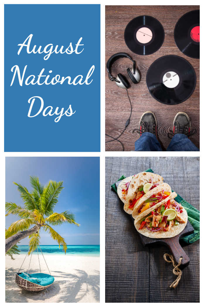 Vinyl records, beach scene, fajitas and words August National Days.