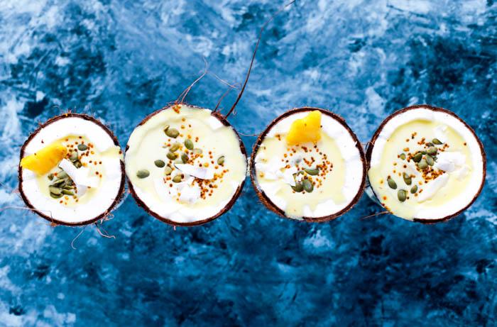 Piña coladas in coconuts