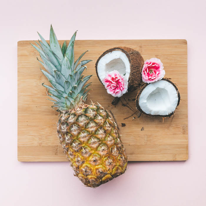pina colada ingredients on a cutting board