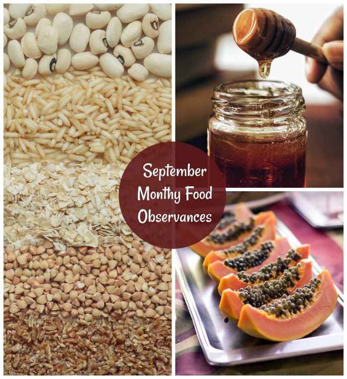 September food observances include whole grains, honey and papaya