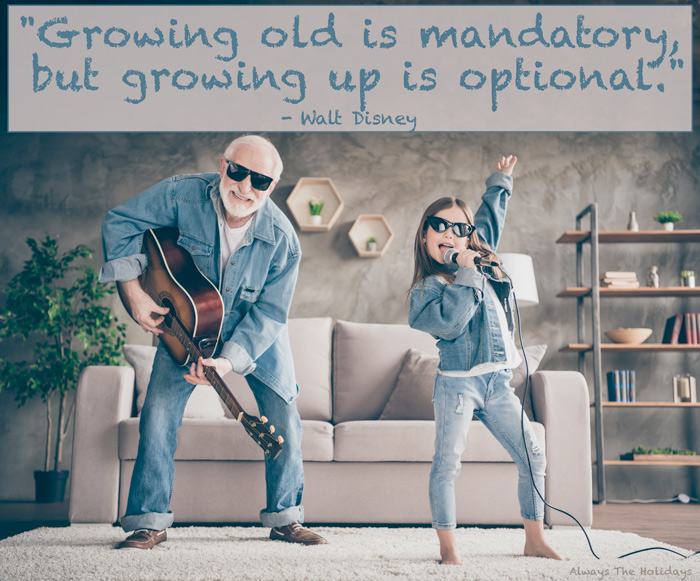 Be like a child quotes - Growing old is mandatory but growing up is optional.