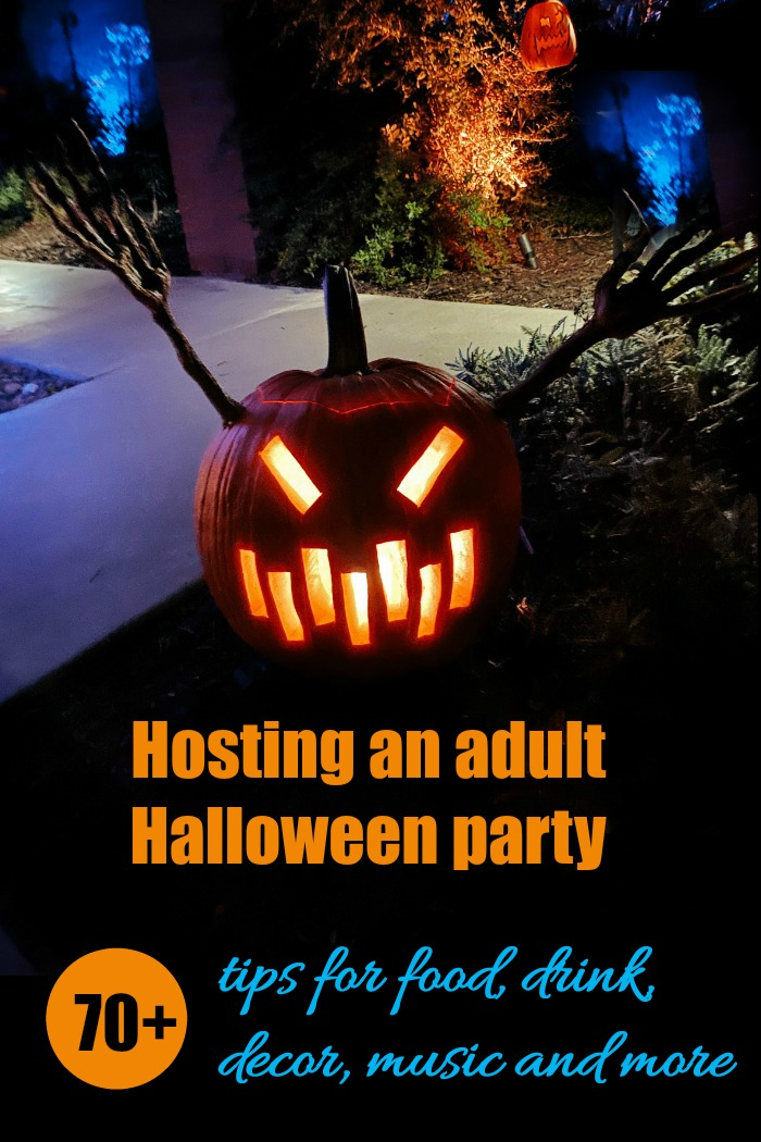 Adult Halloween party ideas - food, drink, decor, lighting, music and more great tips