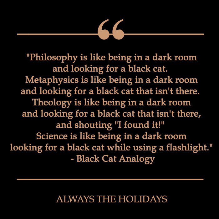 black cat quote about looking for a black cat in a dark room.