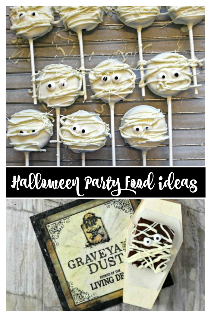 Halloween party food featuring mummy pops and brownies
