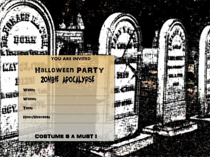 Zombie party Halloween invite