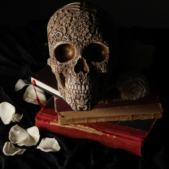 Halloween skull decoration with books and rose petals
